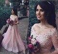 Arábia Saudita Rosa Uma Linha Longos Vestidos de Noite Mangas Meia Beading Partido Prom Vestidos de Renda Apliques Oragnza Disse Mhamad Personalizar