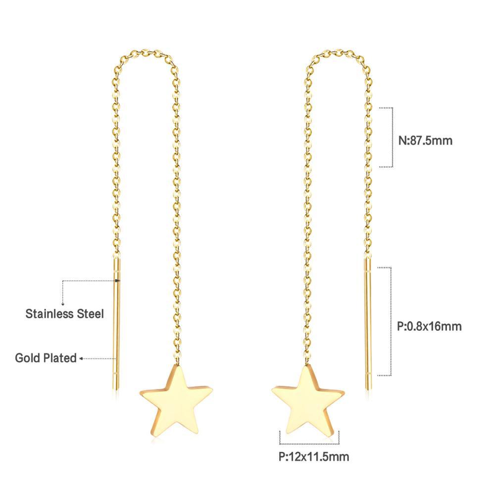 LUXUSTEEL Different Shape Ear Line Link Chain Earrings Gold/Silver Color Drop Earring Mujer Accessories Trendy Long Jewelry