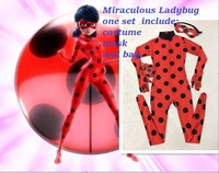Kids Zip The Miraculous Ladybug Cosplay Costume Halloween Girls Ladybug Marinette Child Lady Bug Spandex Full