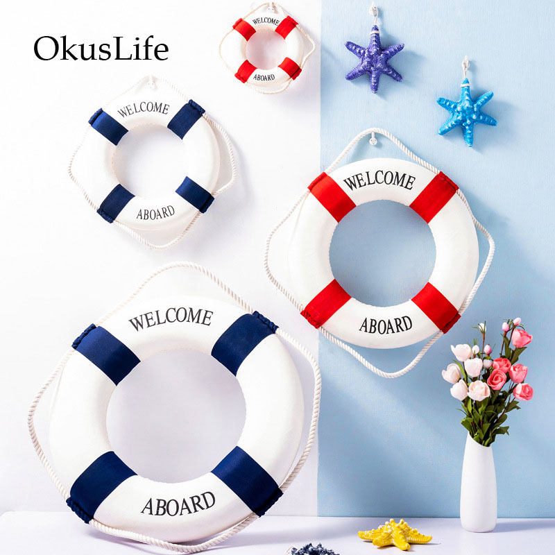 2PCS Set European Style Swim Ring Wall Hanging A Pair Life Buoy For Home Decoration Bar Shop Decorate Kids Bedroom Marine Theme