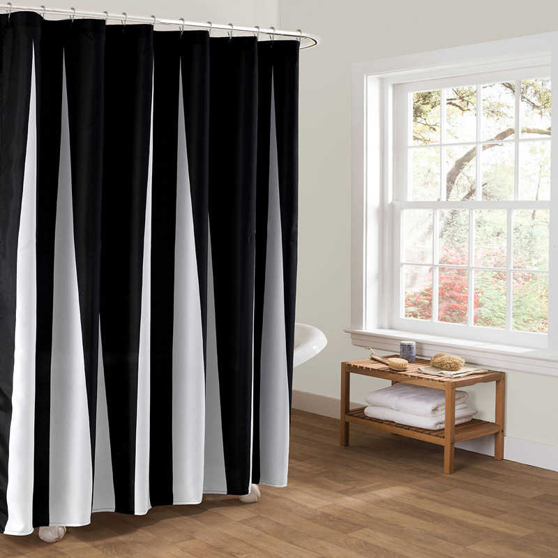 Black White Striped Shower Curtain Polyester 178x200cm Waterproof ...