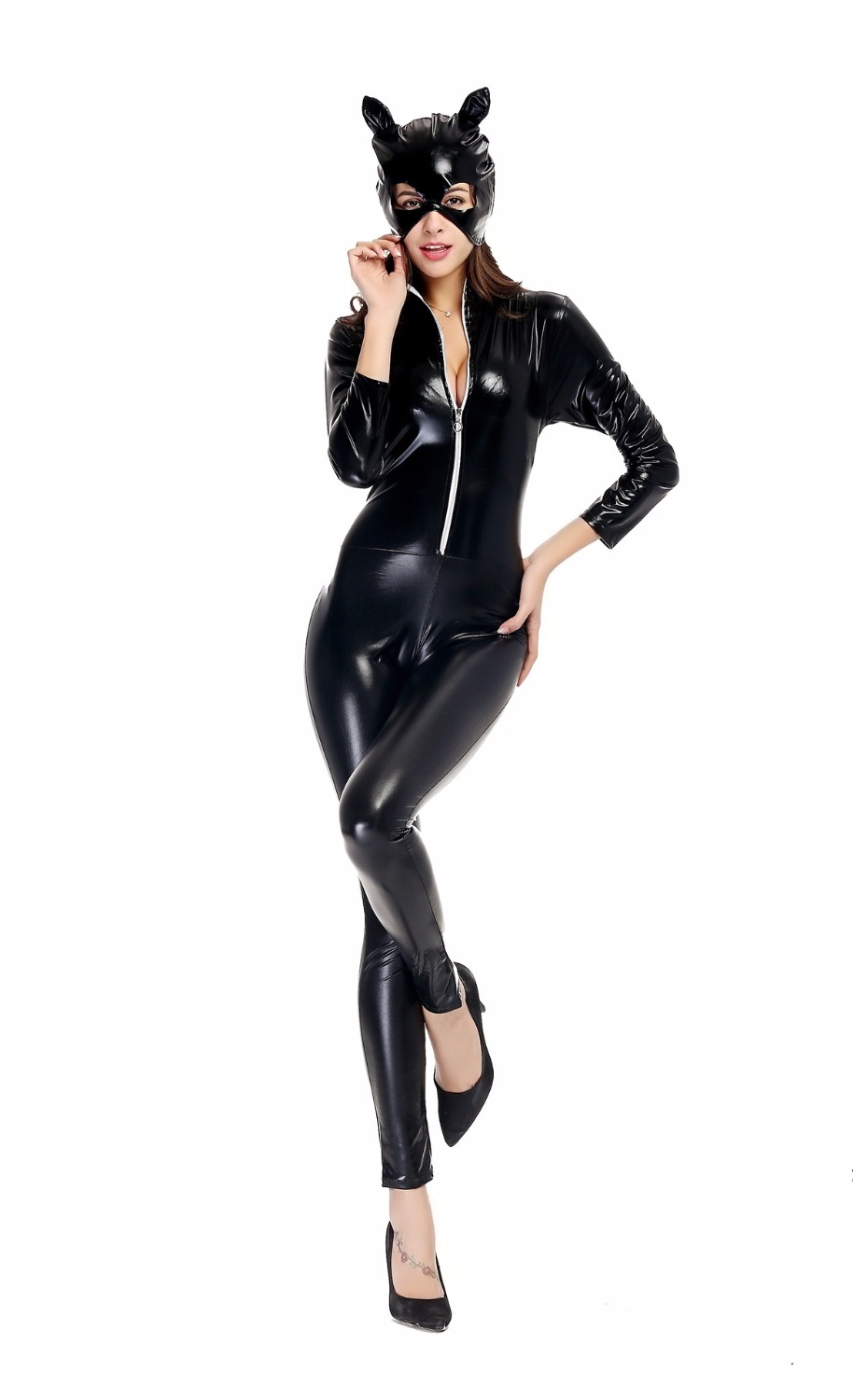 Walson NEW Arrival adult <font><b>Costume</b></font> Cat Women Leather Jumpsuit Night <font><b>Sexy</b></font> <font><b>Catwoman</b></font> Catsuit Black Cat Halloween <font><b>Costume</b></font> M-3XL image