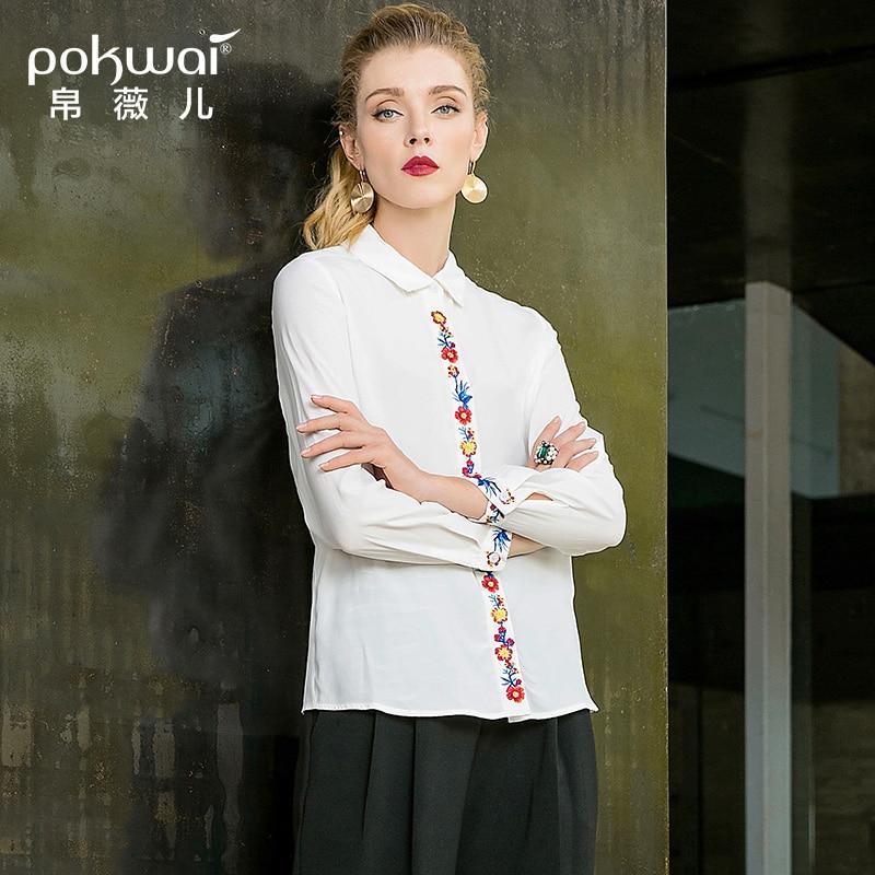 POKWAI automne nouveau col carré National vent brodé chemise décontracté sauvage droite à manches longues Blouse