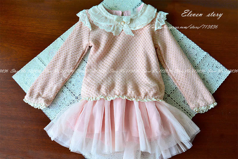 3-7 years Girls bow lace dresses, spring/fall lace long sleeve dress, baby kids gold line clothing, 1ES12DS-05R, Eleven Story