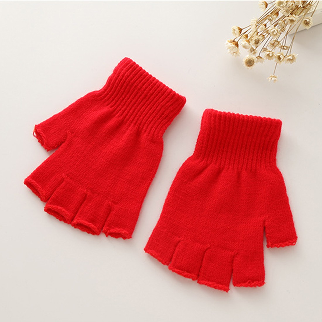 Charming 5 Colors Knitted Stretch Half Finger Fingerless Gloves for Winter Women Soft Warm Elastic Mittens Accessories