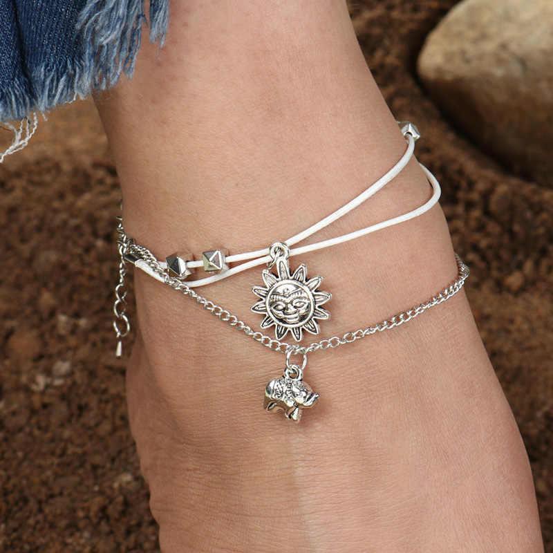 Tenande Vintage słoń słoń obrączki dla kobiet wielu warstwa liny łańcuch bransoletka kostki nogi sandały Barefoot Beach biżuteria letnia