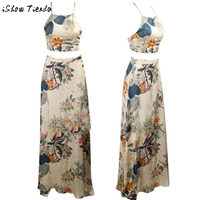 Women-Clothing-Set-Summer-Bohemia-Floral-Printing-Halter-Backless-Lacing-Up-Toplong-Skirt-Outfit-Set-2712-1