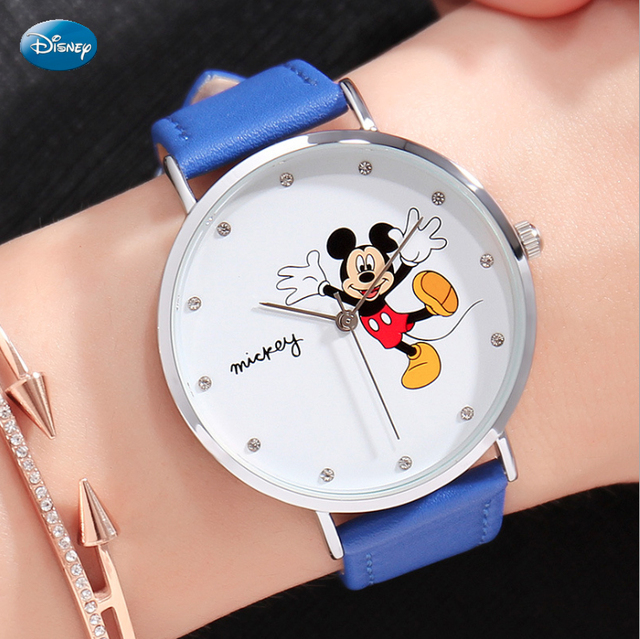 Disney 100% Genuine Wrist Watch Top Brand Luxry Famous Leather Strap Quartz Wome