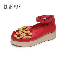 RUSHIMAN 2018 Ballet Spring Summer Women Genuine Leather Shoes Woman Flat Flexible Round Toe Mom Casual Fashion Loafer(China)