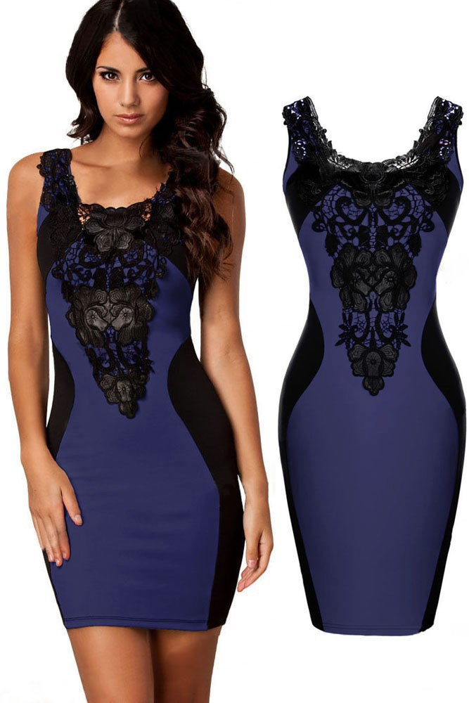 Blue-Sexy-Lace-Contrast-Cocktail-Party-Evening-Bodycon-Dress-LC21548-5