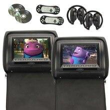 Cremallera negro 2 unids/lote Universal Pantalla TFT Digital Reposacabezas de Coches Reproductor de DVD USB Monitor de FM Disco de Juego Remoto con 2 X IR Auriculares