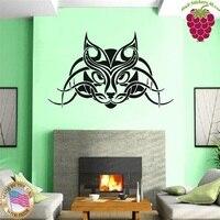 Muurstickers vinyl decal kat huisdier tribal tattoo lynx