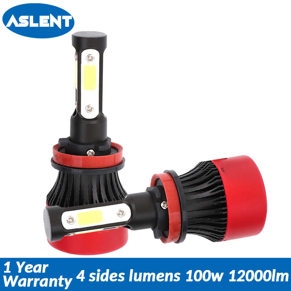 Aslent New 4 Side Lumens COB 100W 12000lm H7 H4 H8 H11 9005 9004 9012 LED Lamps for Auto Headlight Cars Headlamp fog Light Bulbs