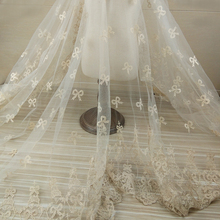1Yard Bowknot Embroidery Net Lace Fabric White Tulle Dress Sewing African French Wedding Trimmings Accessories