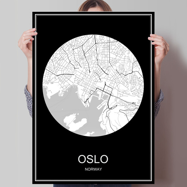 OSLO Norway Abstract World City Map Print Poster Print On Paper Or - Norway map poster