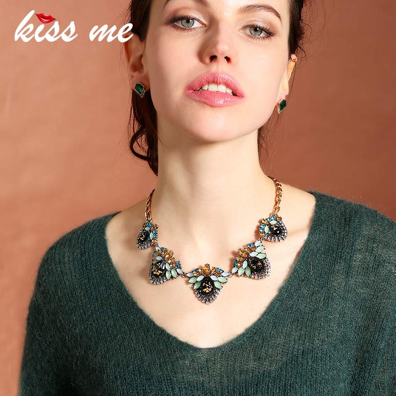 New Design Retro Alloy Geometric Large Statement Necklace 2016 Fashion Jewelry for Women Choker Necklace retro geometric bubble resin statement choker necklace vintage jewelry