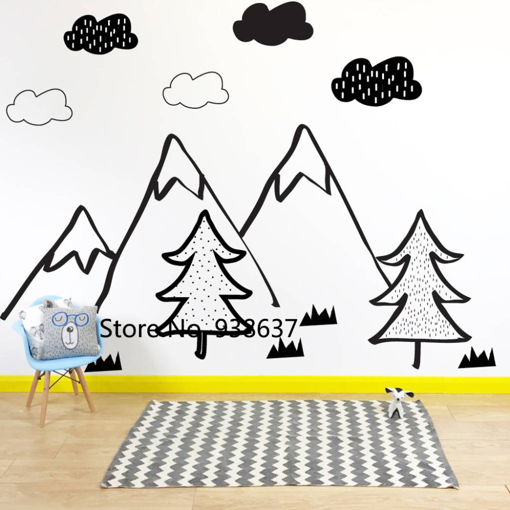 Nordic Style Vinyl Wall Decoration Kids Bedroom Wall Stickers Mono Mountain Scene Wall Decals Removable Living Room Decor ZB430