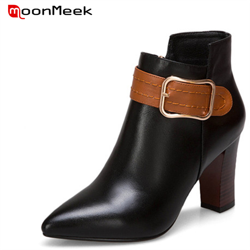 MoonMeek fashion autumn winter women boots new arrive genuine leather boots ladies high heel ankle boots mulinsen new arrive 2017 autumn winter men