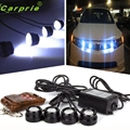 New Arrival 4in1 12V Hawkeye LED Car Emergency Strobe Lights DRL Wireless Remote Control Kit Ap509