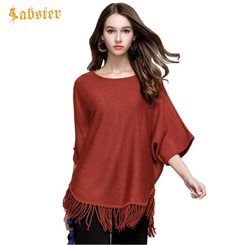 Women Ponchos 2017 Autumn Batwing Sleeve Tassels Knitted Sweaters Loose Oversized Woman's Sweaters Capes and Ponchos