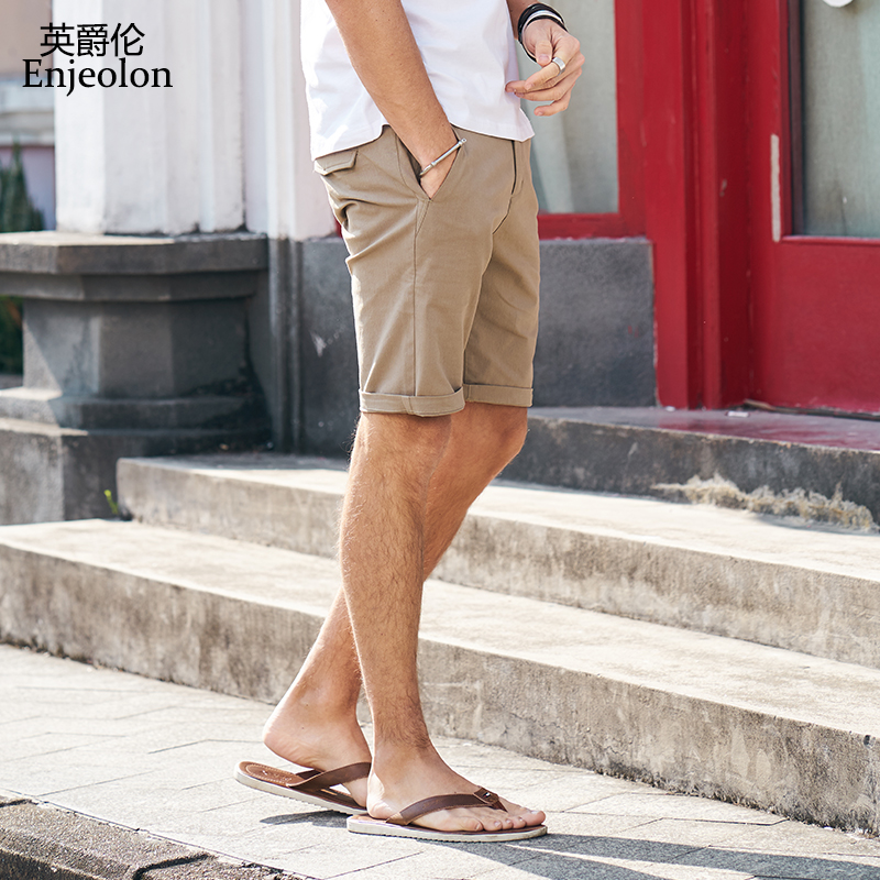 Enjeolon Brand Top 2020 Summer New Casual Shorts Men Cotton Sim Solid Base Man Shorts Available Knee Length High Quality K6808