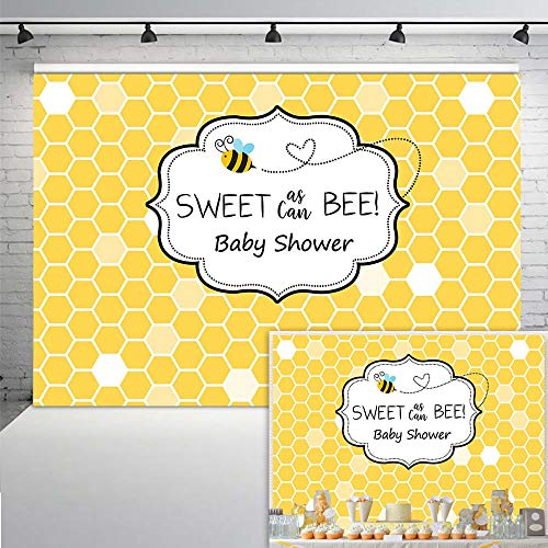 Neoback Sweet As Can Bee Baby Shower Backdrop Honeycomb Christening Baptism Bumble Photo Background
