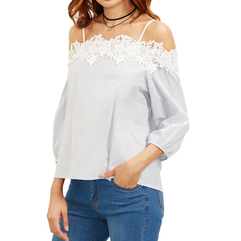2018 t shirt women summer casual Fashion Solid Three Quarter Off shoulder Lace T-Shirt Top Ladies Tops Tee 5.11
