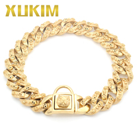 Xukim Jewelry Bull Bully Dog Chain 316L Stainless Steel Gold Plating Skull Punk Gothic Pet Necklace Gift for Pet Dogs