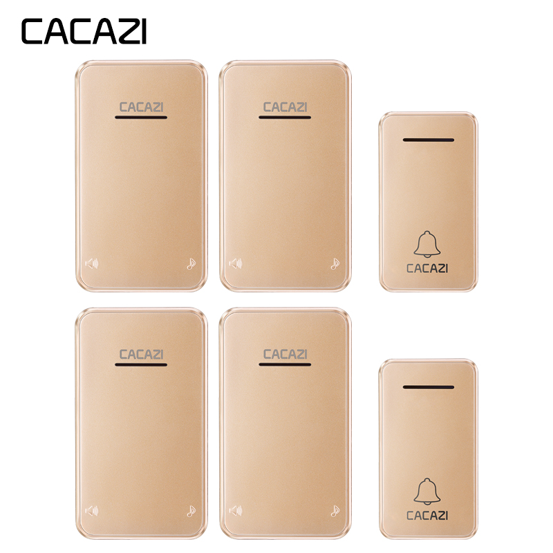 CACAZI Wireless Doorbell Self-powered No battery Waterproof Led light 2 Button 4 Receiver Cordless DoorBell chimes US EU PlugCACAZI Wireless Doorbell Self-powered No battery Waterproof Led light 2 Button 4 Receiver Cordless DoorBell chimes US EU Plug