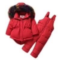 Россия, теплые зимние комплекты одежды для маленьких девочек детские лыжные костюмы Детская верхняя одежда меховые пуховики куртки + брюки/