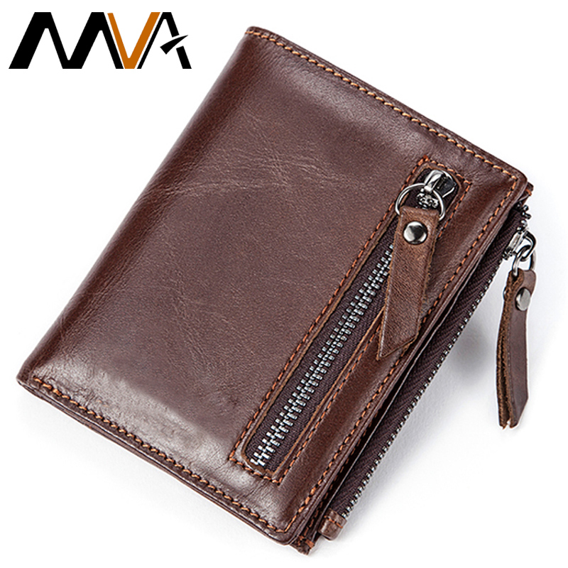 MVA Men Wallets Male Purse Genuine Leather Wallet with Coin Pocket Zipper Short Credit Card Holder Wallets Men Leather Wallet simline genuine leather men wallet men s vintage crazy horse cowhide short wallets purse with coin bag pocket card holder male
