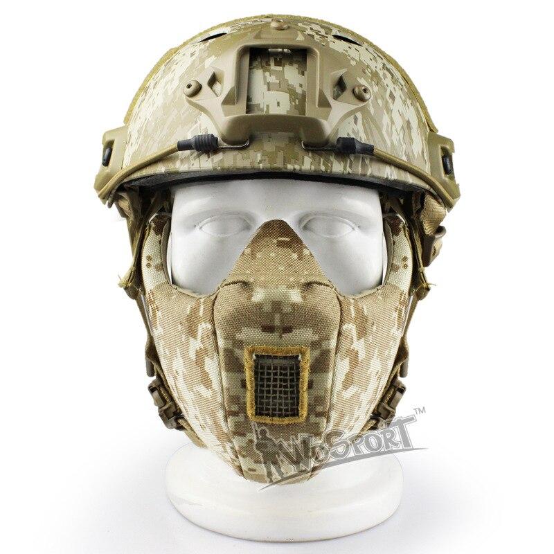 2018 nouveau Sinairsoft militaire tactique masque facial V5 modulaire 1000D Cordura bouche demi WarGame chasse cyclisme Airsoft Paintball
