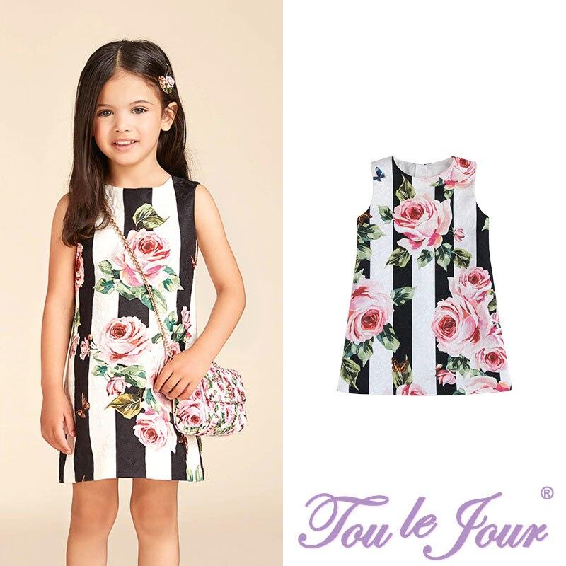 Marque fille vêtements romantique Rose mode rayure imprimé Jacquard mode tissu marge robe