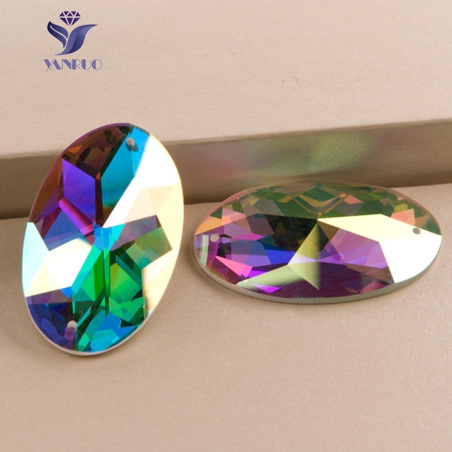 YANRUO 2052TH AB Specchio di Vetro Sew On Stones Strass di Vetro Per Cucire Pietre di Cristallo Per Abito Fai Da Te Abiti Gems Beads