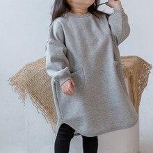 Утепленное платье в Корейском стиле для маленьких девочек модные зимние хлопковые платья с длинными рукавами для девочек от 2 до 7 лет