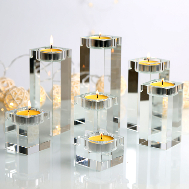 Clear Home Decorations Candlestick Wedding Idea K9 Crystal Candle Holder Table Centerpieces Bar Coffee Shop