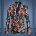 2016 Men Flower Blazers Jackets Coat Men's Casual Fashion Slim Fit Large Size Single Button Style Long Sleeved Flower Jackets