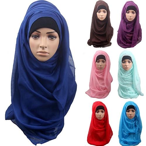 Women's Cotton Comfortable Muslim Islamic Ramadan Hijab Long Scarf Shawl  Headwear BWZY