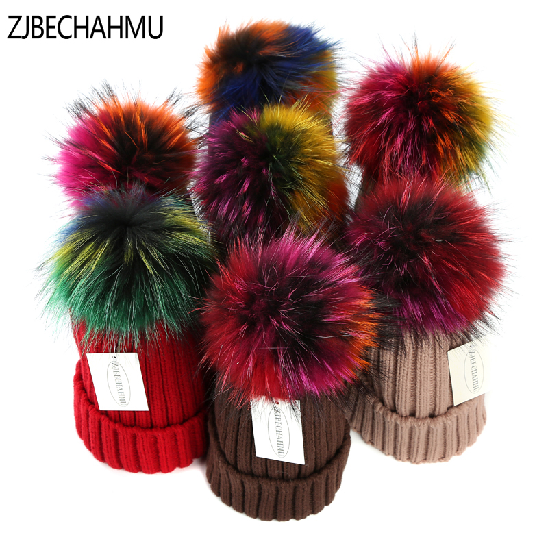 Fashion Colorful fox hair ball Winter Hat For Women Pom Poms Warm Skullies Beanies Women HatS Cotton Knitted Beanies Female Hat 2016 new beautiful colorful ball warm winter beanies women caps casual sweet knitted hats for women outdoor travel free shipping