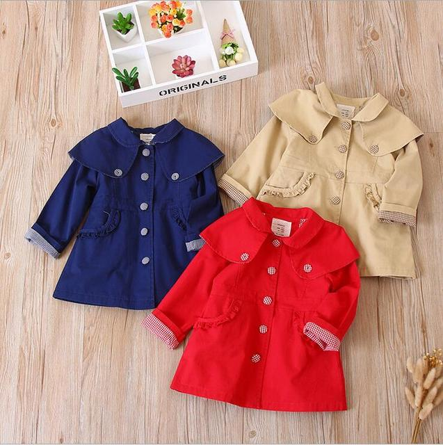 279177303 England styles baby girls big ruffles layered collars button trench ...