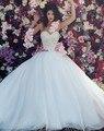 Vestido de Baile Vestidos de Casamento Tulle Vestidos de Casamento Da Princesa de Cristal Frisada Nupcial Vestidos de Noiva vestidos de noiva