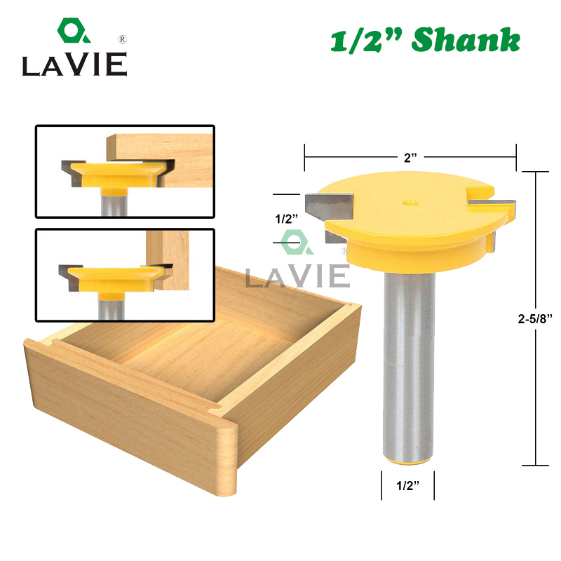 цена на LA VIE 1/2 Straight Drawer Molding Router Bit Drawer Lock Tenon Knife Plug Wood Milling Cutter Door Woodworking Tool MC03005