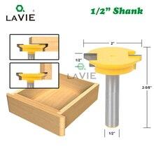 Lavie 12mm 1/2 스트레이트 서랍 몰딩 라우터 비트 서랍 잠금 테논 나이프 플러그 우드 밀링 커터 도어 목공 도구 mc03005