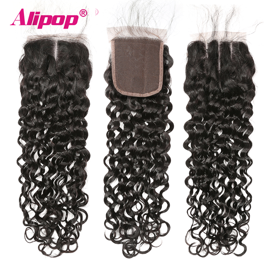 Alipop 5x5 Lace Closure Water Wave Closure Brazilian Hair MiddleFree3 Part 10-18 20 Inches Preplucked Remy Human Hair Closure (17)