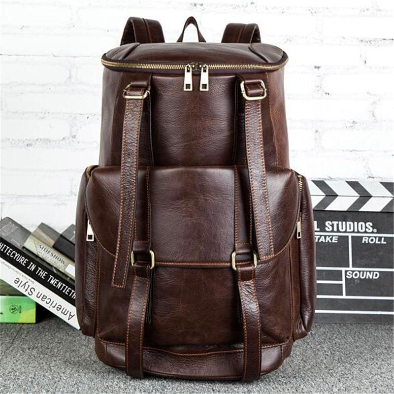 Tasche Reisetaschen Rucksack frauen Hochwertigen Schwarzes Kuh Kapazität Für Leder Mann 100 brown Vintage Echtem Eimer Laptop Große z4YfqB