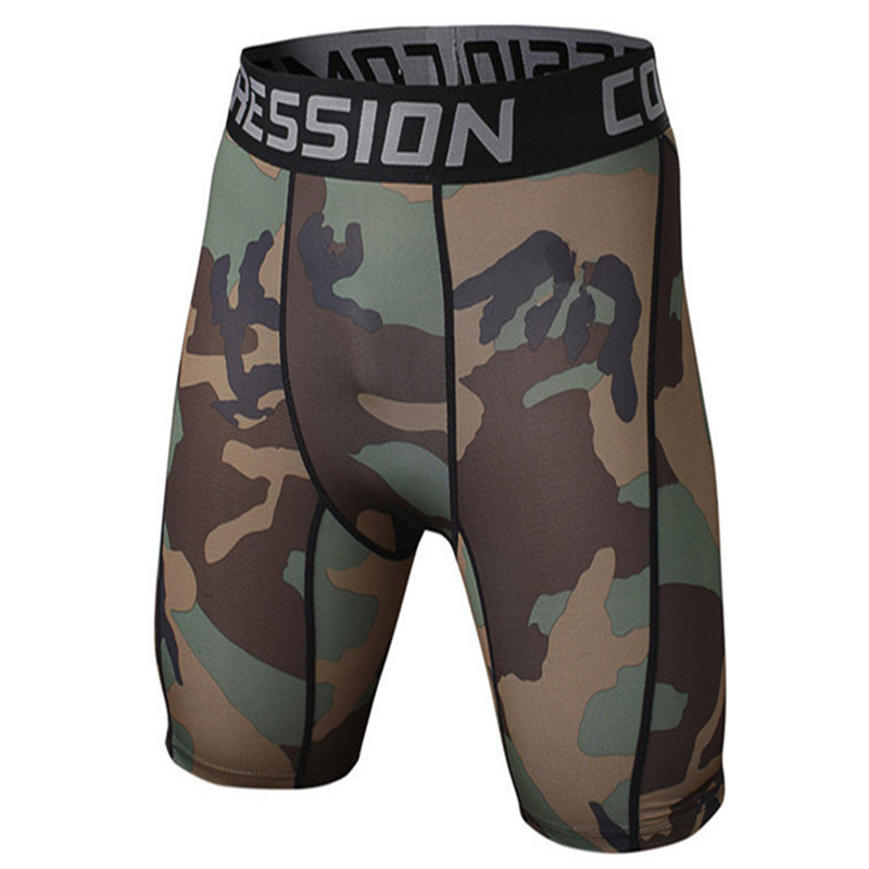 Mens Compression Camouflage Shorts Bodybuilding Skin Tight MMA Workout Gyms Fitness Short Pants Man Joggers Quick Dry Sportswear