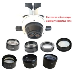0.5X 1X 0.7X 1.5X 2.0X lentille d'objectif auxiliaire Barlow pour Microscope stéréo trinoculaire/binoculaire avec travail à grande distance