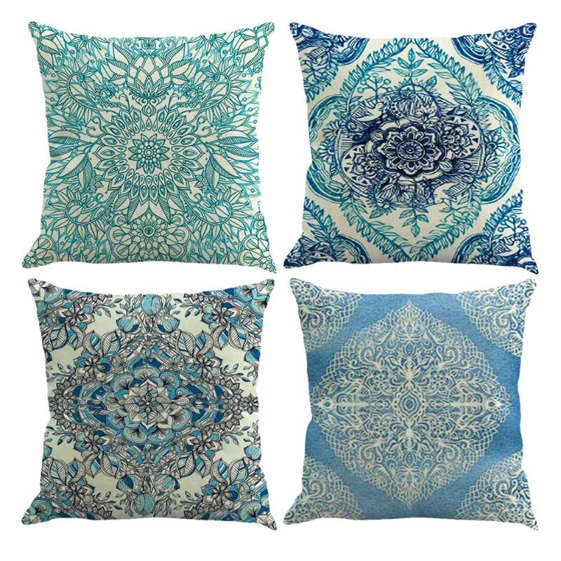 Vintage European Geometric Flower Printing Pillowcase Cotton Linen Throw Pillow Case Cushion Cover Home Decor 45x45cm