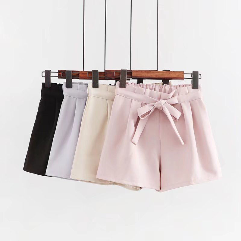 Summer Fashion Candy Color Female Shorts Japanese Sweet Casual Bandage Bow Tie Women Pink Shorts Cute Beach Pleated Black Shorts