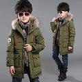 Adolescente meninos longo casaco casacos de inverno 2015 de algodão grosso quente com faux gola de pele com capuz para crianças crianças criança grande tamanho 8 9 10 11